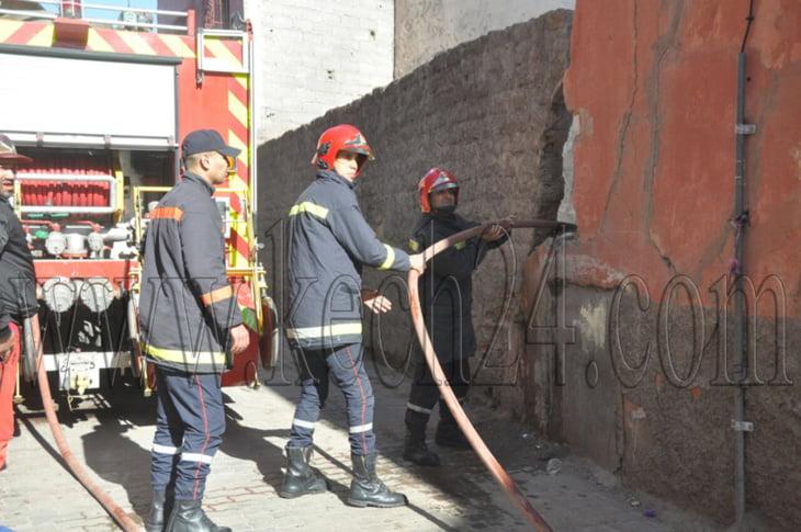 عاجل: اندلاع حريق في منزل بعرصة الحوتة بالمدينة العتيقة لمراكش + صور