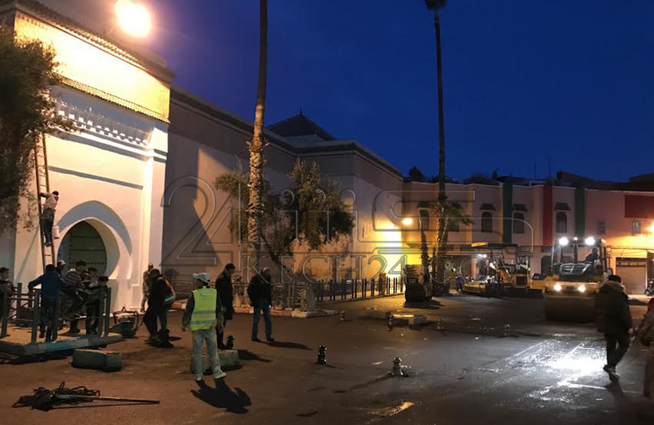 الاستعدادات على قدم وساق بمحيط المسجد الذي سيؤدي فيه الملك صلاة الجمعة