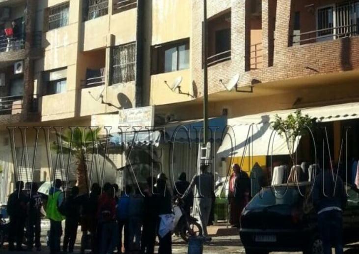 اشتعال النيران في محل للمأكولات الخفيفة بسيدي يوسف بن علي بمراكش + صورة