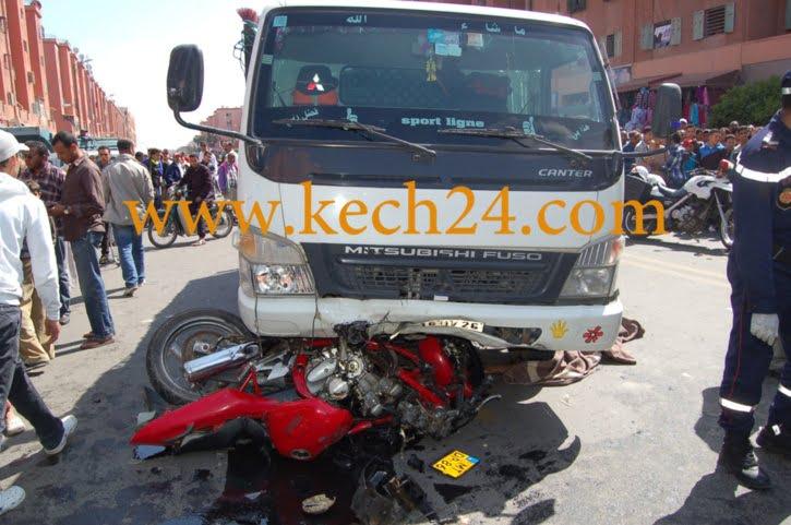للمرة الثانية وفي نفس اليوم وبنفس المكان.. شاحنة تسحق شابا على متن دراجة في مراكش.