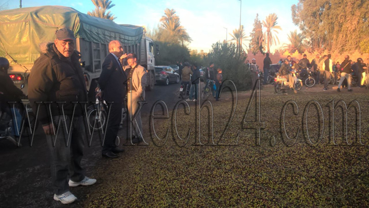 عاجل: انقلاب شاحنة كبيرة محملة بالزيتون بمقاطعة النخيل بمراكش + صور