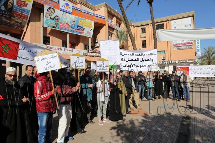 مكترو أملاك الأحباس بمراكش يواصلون احتجاجاتهم ضد المدونة الجديدة للأوقاف