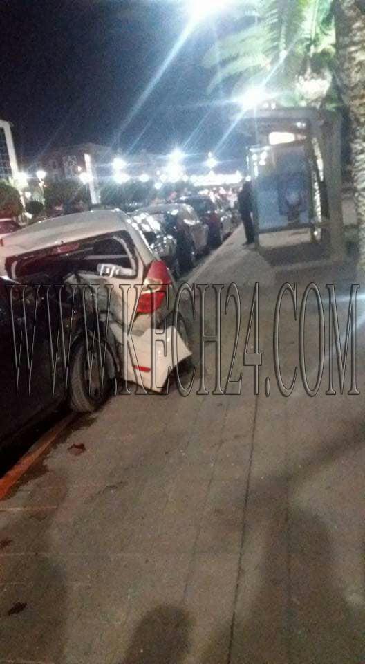 حادثة سير مروعة تخلف خسائر مادية كبيرة بشارع محمد السادس بمراكش + صور