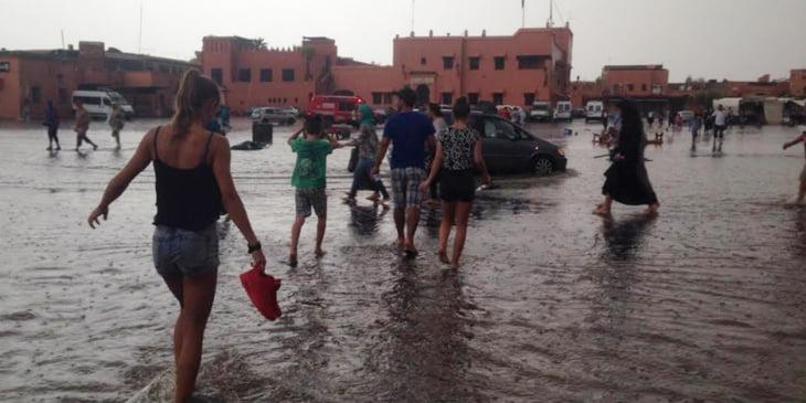 مقاييس التساقطات المطرية المسجلة بمراكش وباقي مدن المملكة خلال الـ 24 ساعة الماضية