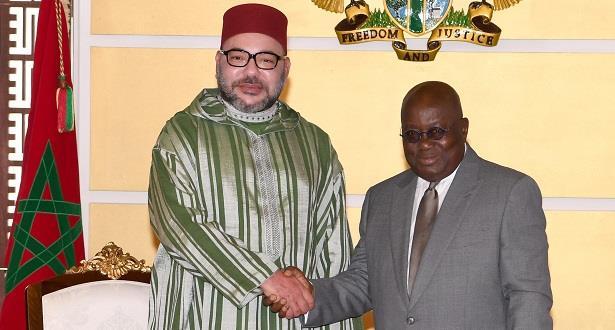 الملك محمد السادس يبعث برقية شكر وامتنان إلى رئيس غانا في ختام الزيارة الرسمية