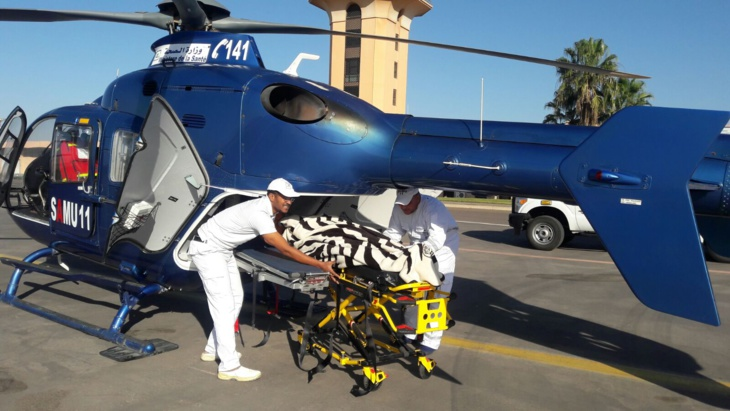 نقل سيدة في حالة حرجة على متن مروحية طبية
