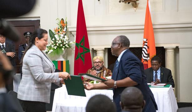 الملك ورئيس زامبيا يترأسان مراسم التوقيع على 19 اتفاقية حكومية واقتصادية