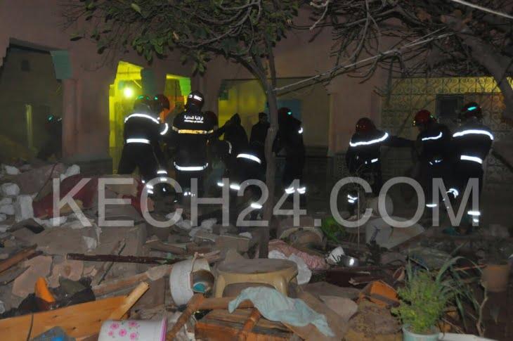 عاجل: ثلاثة قتلى حصيلة أولية لانهيار منزل بحي سيدي يوسف بن علي بمراكش + صور