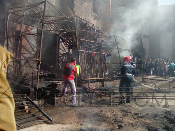 عاجل: اندلاع حريق مهول في محل لبيع الأفرشة بمراكش + صور