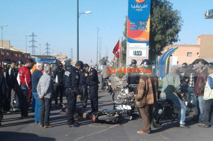 حادثة سير خطيرة ترسل سائق دراجة نارية للمستعجلات بمراكش + صور