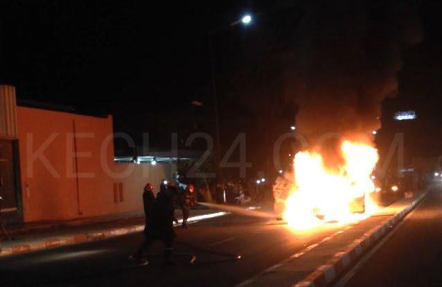 النيران تلتهم سيارة خفيفة بمدينة مراكش