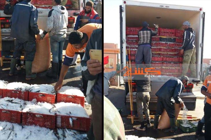 منع شاحنة من دخول سوق السمك بمراكش يثير غضب مهنيين + صور