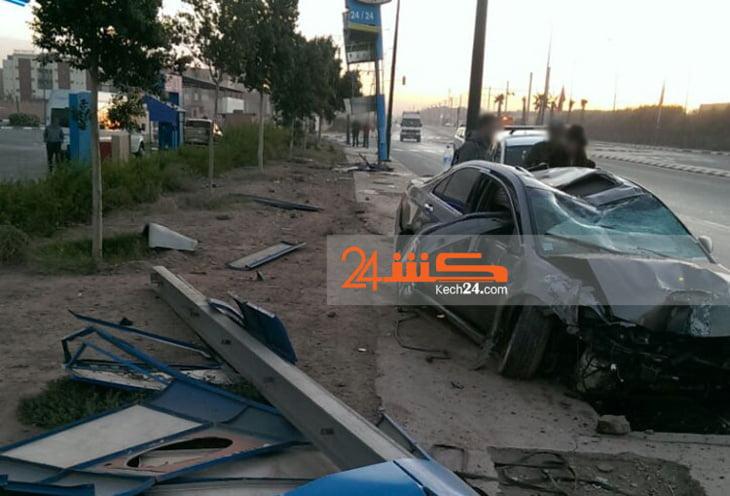 حادثة سير خطيرة بمدخل مدينة مراكش + صورة