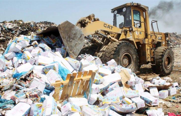 حجز وإتلاف أطنان من المواد الغذائية الفاسدة كانت موجهة إلى المغاربة