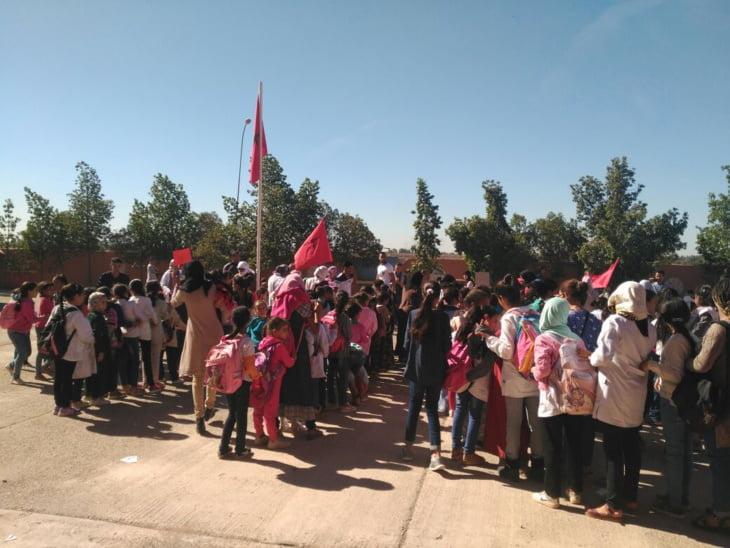 بالصور: مدرسة رياض الزيتون بحي الآفاق بسعادة تحتفل بذكرى المسيرة الخضراء