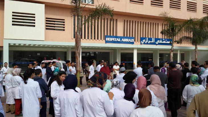 فدراليو الصحة يصعدون من أشكالهم الإحتجاجية ويعتصمون بالمركز الإستشفائي الجامعي بمراكش
