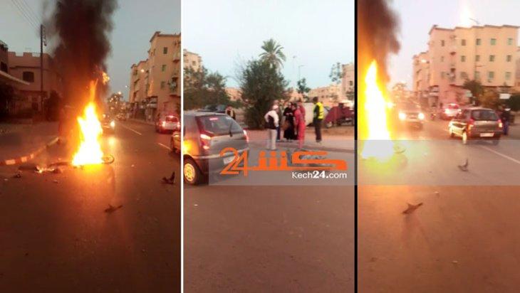 حادثة سير خطيرة تتسبب باندلاع النيران في دراجة نارية بمراكش + صور