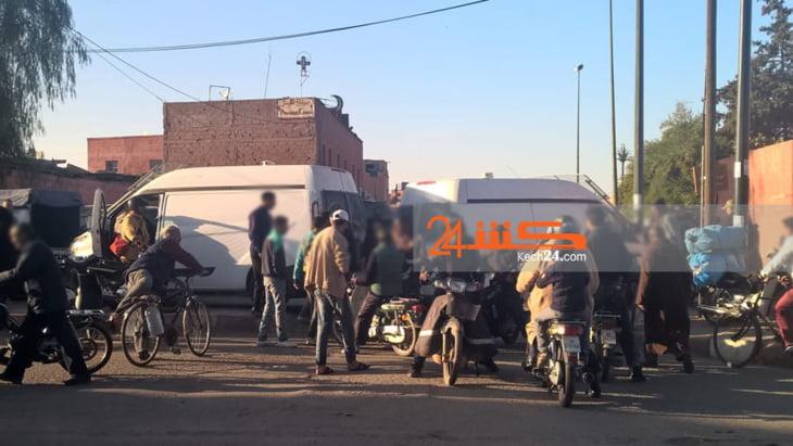 عاجل: استنفار أمني بحي قشيش وعناصر الأمن تغلق شارعا بمراكش + صور