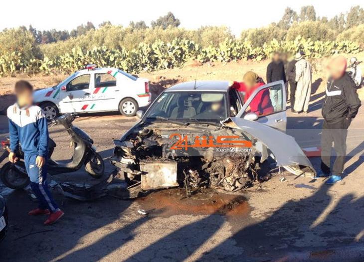 إصابة سيدة في حادثة سير خطيرة بمراكش + صورة