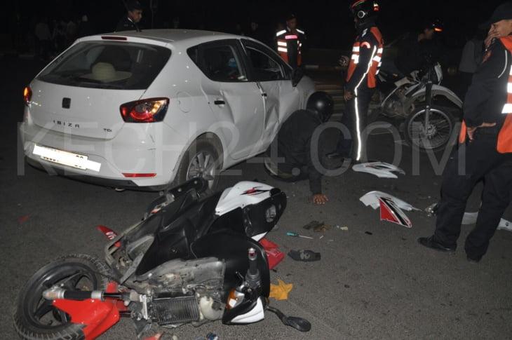 عاجل.. حادثة سير ترسل شابين للمستعجلات بمراكش + صورة