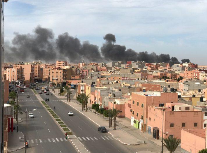 اندلاع حريق مهول في ثكنة عسكرية بمدينة العيون