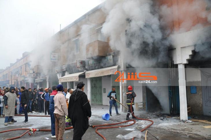 عاجل: اندلاع حريق في محل للأفرشة بمراكش + صور