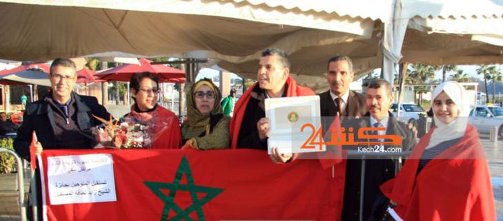 استقبال ممثلي ثانوية عودة السعدية المتوجين بجائزة زايد لطاقة المستقبل بمطار محمد الخامس