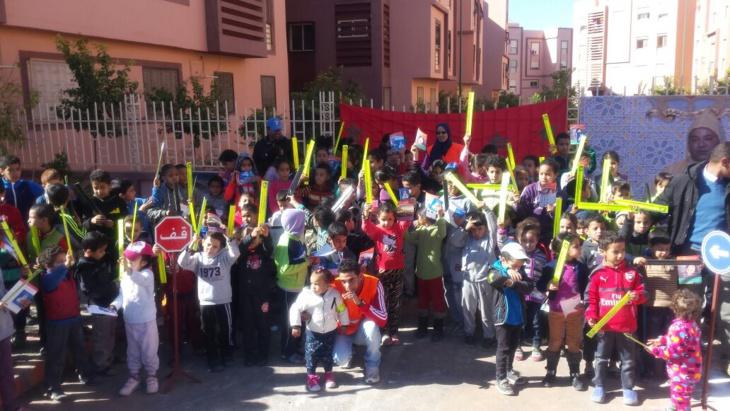بالصور: يوم تحسيسي حول السلامة الطرقية لفائدة أطفال حي دار السلام بمراكش