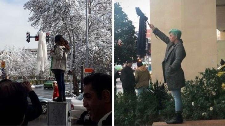 نساء يخلعن الحجاب في شوارع إيران في إطار احتجاجات ضد القانون