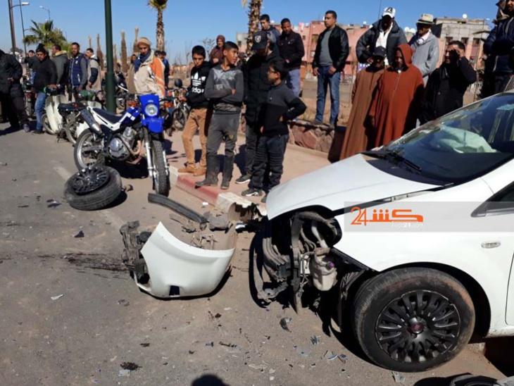حادثة سير خطيرة تخلف خسائر جسيمة بمراكش + صور