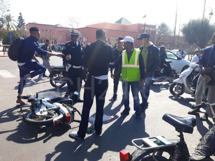 إصابة شخصين في حادثة سير بمراكش + صورة