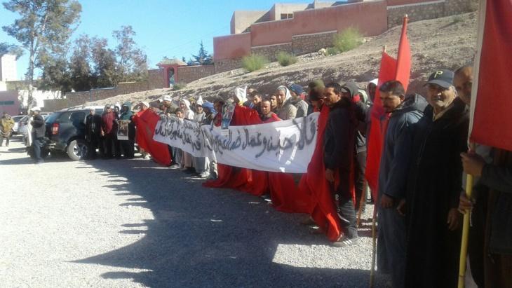 احتجاجات بإمنتانوت للتنديد بجر مزارعين للقضاء من طرف برلماني