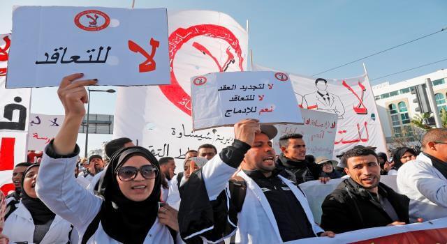 """احتجاج جديد لـ""""أساتذة الكونطرا"""" ضد تعنيف """"حاملي الشهادات"""""""