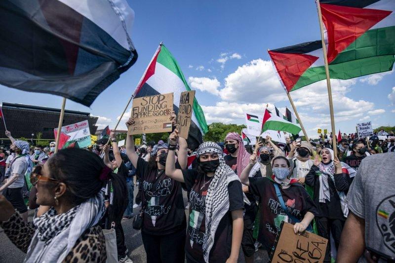 الآلاف يتظاهرون في الولايات المتحدة وكندا دعما للفلسطينيين