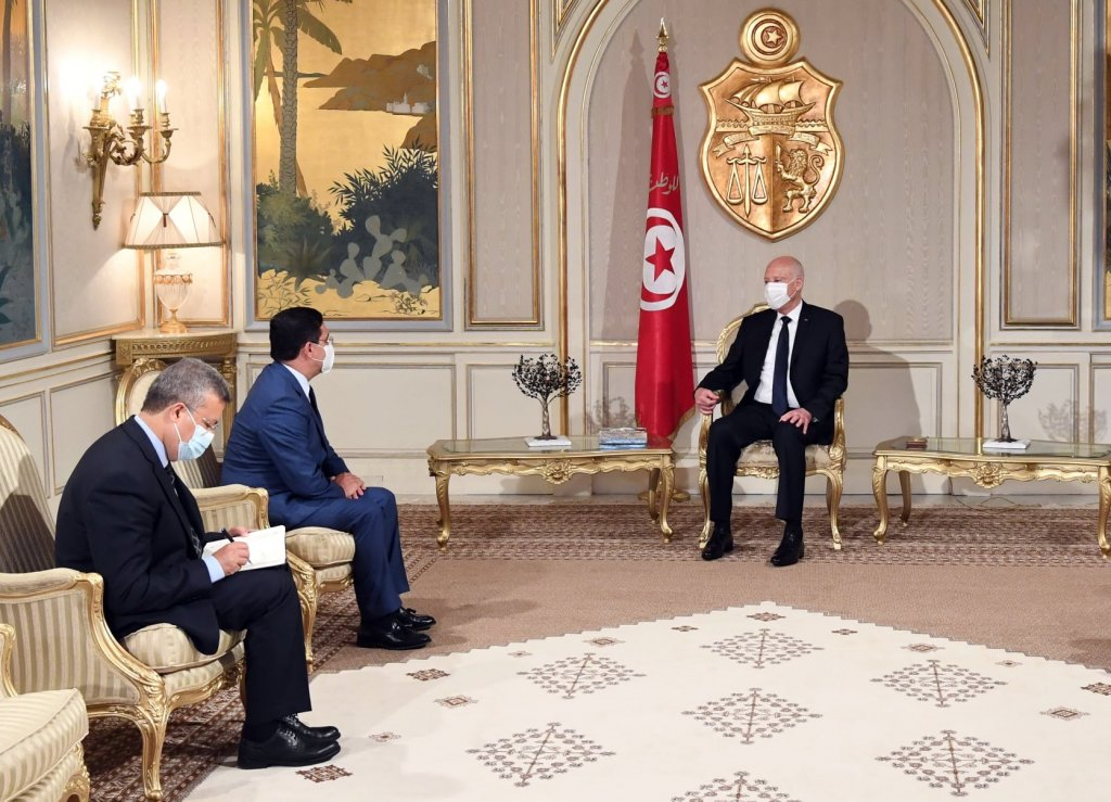 الرئيس التونسي قيس سعيد يستقبل وزير الخارجية المغربي بوريطة
